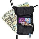 Portadocumentos de cuello y cartera de viaje (con bloqueo RFID) de Walden. Bolsa de viaje negra y robusta con 5 bolsillos (uno para móvil) y cubierta de nailon. Ideal para hombres, mujeres y niños.