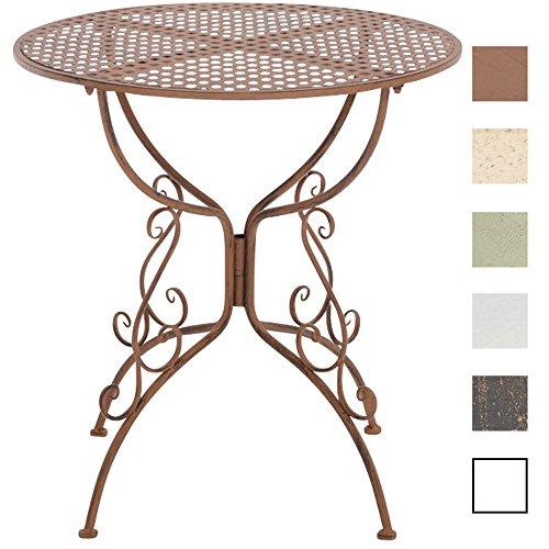 CLP Eisentisch Amanda im Jugendstil I Robuster Gartentisch mit kunstvoll verzierten Tischbeinen I erhältlich Antik Braun