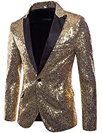 Kobay Hommes Casual One Button Fit Costume Blazer Manteau Veste Sequin Party 77e8630b4ea8