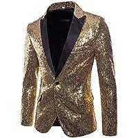 Bestow Blazer de Lentejuelas Dorado de Invierno para Hombre Disfraz de Rendimiento Chaleco suéter Sudadera