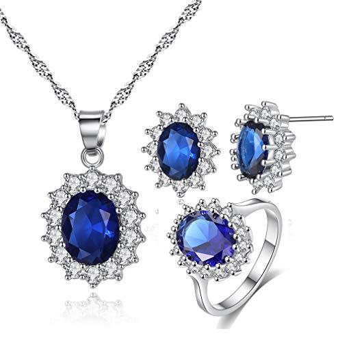 Yazilind Prinzessin Diana Kate Middleton weiß vergoldet ovale Kristall Ohrringe/Halskette/Ring Schmuck Set blau 16.6 (Halloween Prinzessin Kate)