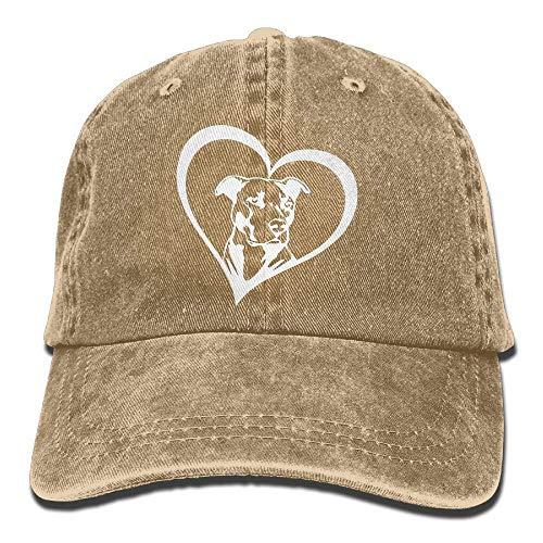 Wdskbg Männer & Frauen einstellbar Denim Stoff Baseball Caps Pit Bull Heart Snapback Cap Multicolor62 - Bull Denim Stoff