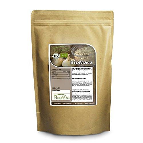 Nurafit BIO Maca Pulver | Vegan Rohkostqualität | Superfood mit Proteinen | Rein natürlich ohne Zusatzstoffe | 1kg/1000g