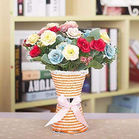 LKMNJ L'émulation des ornements de fleurs artificielles Accueil Chambres Le salon le décor Fleur d'émulation Offres Spéciales le fer moderne minimaliste en rotin Vase Bouquet de fleurs ruban10Kit chef Kim Yu De la peinture à l'huile