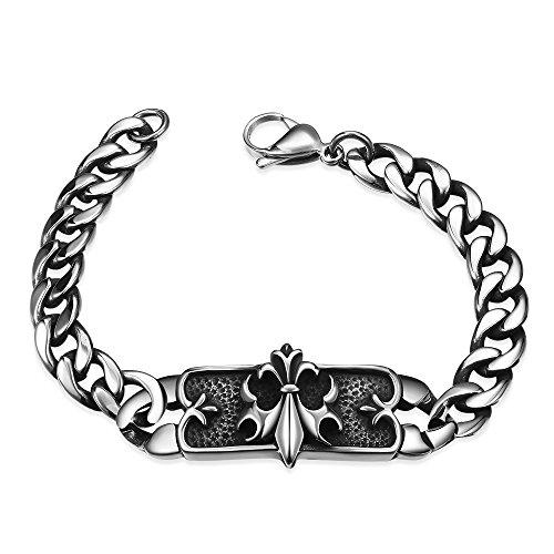iLove EU Edelstahl Armband Link Handgelenk Silber Ritter Knight Fleur De Lis Panzerkette Kette Retro Herren