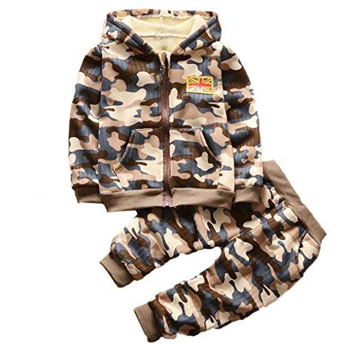 Ropa niño Otoño invierno, Amlaiworld Bebé niño niña camuflaje Tops ropa de conjunto Ropa Caliente outwear 3 Años - 7 Años (Tamaño:6-12Mes, Caqui)