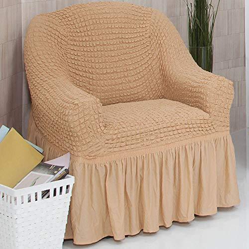 Mixibaby Sofabezug Sofahusse Sesselbezug Sitzbezug Sesselüberwurf Stretchhusse 1 er Sofa, Farbe:hellhoney