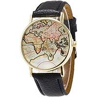 Fandecie unisex di lusso elegante retro vecchio Classic World Map bracciale orologio da polso al quarzo con cinturino in pelle (nera)