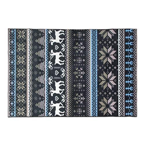 LKK Teppich-Marmorbodenmatte Cooler schwarzer Retro-Stil American Blue Muster Streifenmuster rutschfeste Teppichkunst Schlafzimmer Wohnzimmer Couchtisch Chenille Lederteppich