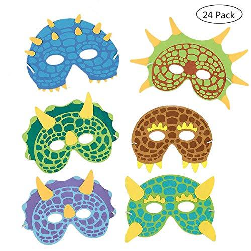 Schaum Party Kostüm - Dinosaurier Masken Kinder,24 Stück Dinosaurier Party Masken Kostüm Schaum Maskerade für Kinder Jungen Mädchen Birthday Party Supplies