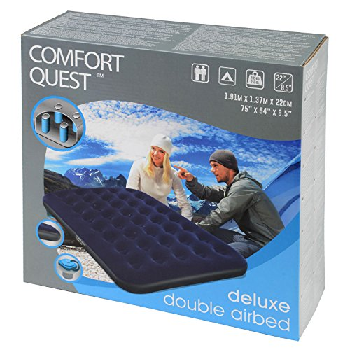51uJCtpUkXL. SS500  - Comfort Quest Double Airbed, Inflatable Guest Air Bed, Blow Up Camping Mattress, Flocked Surface, Coil Beam Construction, L191cm x W137cm x D22cm, Max Weight 295kg