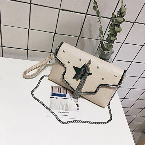Frau Persönlichkeit Clamshell Hardware Beliebt Su Xiaofang Paket Fünfzackigen Stern Schulter Messenger Bag Weiß