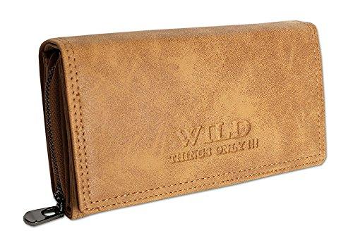 Großes Damen Portemonnaie   Geldbörse mit Münzfach Kreditkartenfächer Ausweisfächer Fotofächer   Brieftasche für Frauen - verschiedene Farben XL (11033) (Cognac)