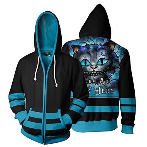 Adult Kostüm Alice - K-Flame 3D Tier Gedruckt Hoodies Langarm Lose Mit Kapuze Sweatshirts mit Reißverschluss Adult Movie Cosplay Kostüm für Alice im Wunderland,Blue,L