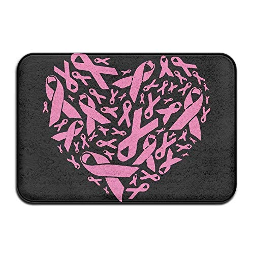 Breast Cancer Fleece (Wdskbg Breast Cancer Awareness Non-Slip Outside/Inside Door Mat Rug for Health and Wellness Offices Bathroom Doormat 23.6