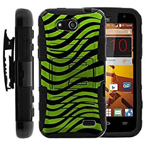 ZTE Maven Case, ZTE Maven Holster, Two Layer Hybrid Armor Hard Cover with Built in Kickstand and Unique Graphic Images for ZTE Maven Z812, ZTE Overture 2 Z813, Z810, ZTE Fanfare Z791, Z792 (AT&T, Cricket) from MINITURTLE | Includes Screen Protector - Green Zebra