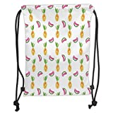 Icndpshorts Pineapple,Pineapple and Watermelon Fruit Themed Minimal Sketch Pastel Watercolor Pattern,Multicolor Soft Sat