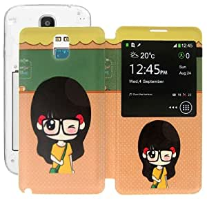 ENKAY Girl Pattern Call Display ID Flip Leather Case + Plastic Replacement Back Cover with Sleep / Wake-up Function for Samsung Galaxy Note III / N9000