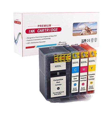 4-Pack HP 920XL 920 XL Cartouche d'encre grande capacité compatible (1 Noir, 1 Cyan, 1 Magenta, 1 Jaune) avec puce pour HP Officejet 6500 6500A Plus 7500A 6000 7000 7500 imprimante