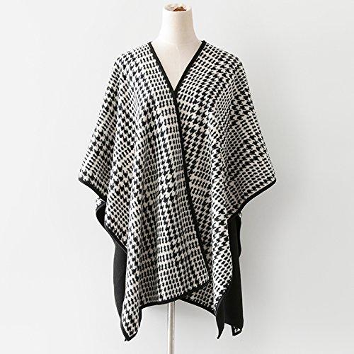 XYZHF** L'hiver Veste femme châle surdimensionné en treillis épais manteau , cliquez à l'extérieur de la grille de chidori à double usage Des milliers d'oiseaux.