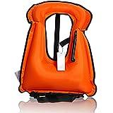 Ocamo Portable Inflatable Life-vest Bright-coloured Safety Lifejacket Buoyancy Vest Snorkel Vest for Kids