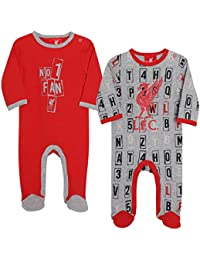 dce228d06 Liverpool FC Red Baby Boy Football 2 Pack Sleepsuits AW 18 19 LFC Official