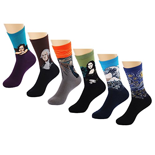 uclever-mens-art-patterned-famous-collection-casual-crew-socks-6-pairs