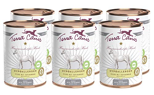 Terra Canis Hypoallergen Nassfutter I Reichhaltiges Premium Hundefutter in echter Lebensmittelqualität mit Pferdefleisch, Topinambur & Leinöl I 6 x 400 g, allergenarm, getreidefrei & glutenfrei
