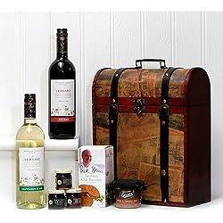 El cuadro de la vendimia Clarendon Deluxe de madera de vino con 2 x 750 ml Versare vinos (Sauvignon y Shiraz) y comida gourmet - regalo perfecto para cumpleaños, jubilaciones, como agradecimiento