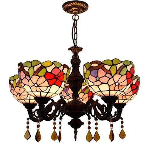 Tiffany-Stil 5-Arm Kronleuchter, 8-Zoll-Glasmalerei Blumenmuster Schatten Schmiedeeisen Anhänger Beleuchtung für Wohnzimmer Esszimmer Decke Hängelampe - Fünf Arm Schmiedeeisen Kronleuchter