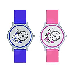 A&A CORP Peacock Blue And Pink Color Round Dial Analog Watches Combo For Girls And Women