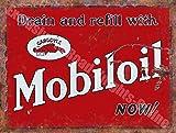 Mobiloil Gargoyle Huile Essence Rouillé Garage Vintage Annonce Métal/Panneau Mural Métalique - 15 x 20 cm