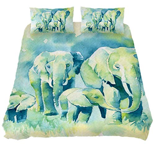 TIZORAX Juego de sábanas de Familia de Elefantes - Juego de edredón...