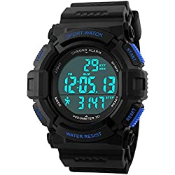 Jelercy Boys Multi Function Digital Electronic LED Display 5 ATM Waterproof Step Tracking Sports Watches for Men