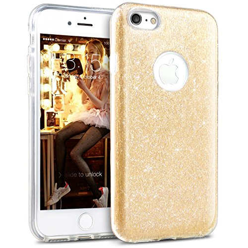 Bling Bling iPhone 6 Hülle, iPhone 6s Hülle, TheBlingZ.® Bling Bling Strass Glitzer TPU Hybrid Schutzhülle für iPhone 6 und iPhone 6s - Silber Gold