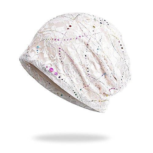 WELROG Chemo Hut Frau Frauen Hut Spitzen Kopftuch Super Weich Slouchy Turban Kopfbedeckungen Kopf Wraps (Weiß)