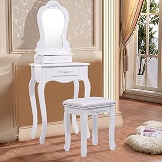 COSTWAY Schminktisch mit Spiegel Frisiertisch Frisierkommode Kosmetiktisch Schminkkommode mit 3 Schubladen inkl. Hocker weiß