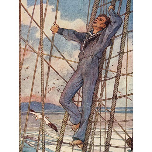 Woodward Sailor Rigging Pinafore Gilbert Book Frontispiece Premium Wall Art Canvas Print 18X24 Inch Holz Segeln Buch Wand -
