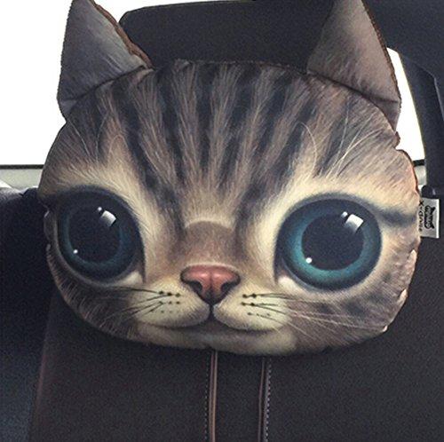 Neuheit Kreative Kissen KFZ-, Motiv 3D Gesicht Katze Cartoon Pillow Cushion Weich Samt Deko Kissen Sofa-Bett Spielzeug Plüsch 26* 30cm für Auto Sofa Büro 1#