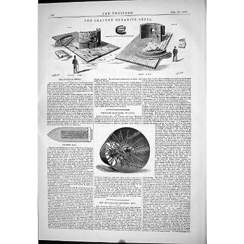 Impresión Antigua de la Dinamita Shell de Graydon 1889 Poleas del Cono del Hierro Labrado Que