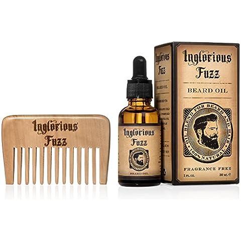 Pelle barba olio Con Barba pettine da Inglorious Fuzz- Puro d'Oro Biologico Olio di Jojoba e Argan petrolchimica Barba condizionata-sollievo da Grattachecca e Fragrance beard- secco gratuito - barbe migliori per gli uomini migliori