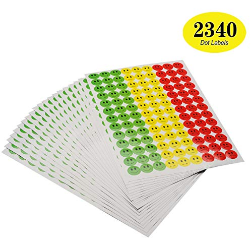 ONUPGO Pack of 2340 Smiley Face Stickers Happy Face Incentive Stickers  Circle Dots Labels, 19mm Round Behavior Sticker Circle Teacher Labels,  Great