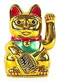 """Winkekatze MANEKI NEKO 6"""" / 16cm gold"""