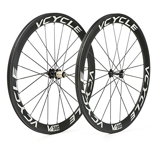 VCYCLE 700C Carbon Fiber Road Bike Wheels 50mm Riveter 23mm Width 1700g Shimano or Sram 8 / 9 / 10 / 11 Speeds