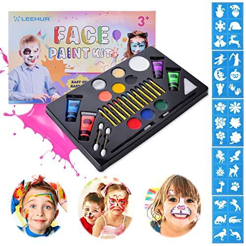 Kinderschminken set, LEEHUR Schminkset 6er Schminkefarbe mit Glitzer Pinsel UV-Bodypaint Schminke...