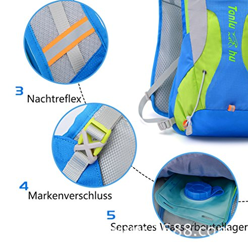 Promstar Hiking Backpack 10L Weekend Pack w/ Waterproof Rain Cover & Laptop Compartment For Camping Travel Hiking Enthält 1,5L Wassertasche Blau