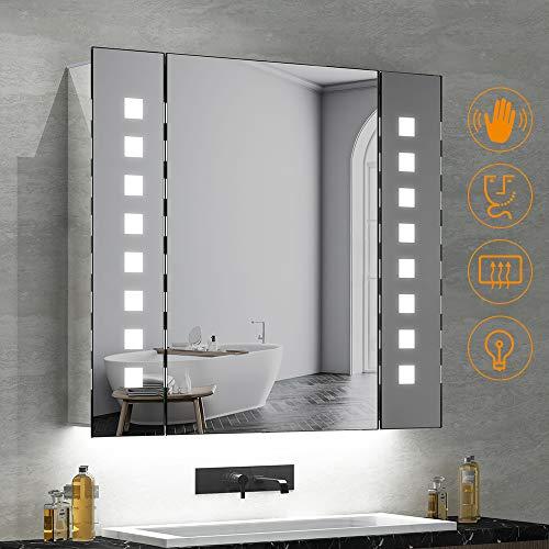 Quavikey LED beleuchtete Badezimmerspiegel Kabinett Aluminium Spiegelschrank Badschrank mit hintergrundbeleuchteter LED beleuchtet Rasierapparat-Sockel Demister 650 x 600mm - Erweitern Bad-spiegel
