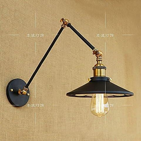 Xspwxn Wand-Lampe Weinlese-Retro- industrielle Wand-Lampe 2 Abschnitt-langer Schwingen-Arm justierbar mit Bedside-Schlafzimmer-Beleuchtung-Schein (Durchmesser 22cm, Kappe Art E27, 110-240V, 40W, Birnen nicht eingeschlossen) ( Size : 30+15 )