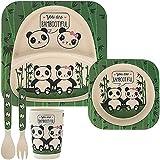 Lesser & Pavey LP42977 Panda Bamboo - Vajilla y desayuno (5 piezas, ecológica), multicolor