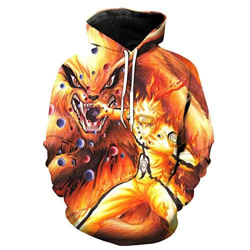 CHENMA Herren Naruto 3D-Druck Pullover Kapuzen-Sweatshirt mit Kängurutasche